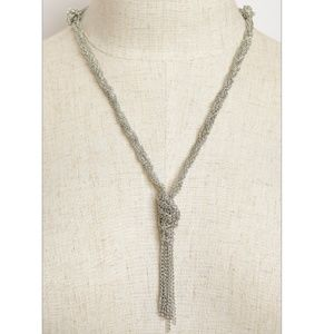 NWT Delicate Silver Chain Knotted Drop Necklace